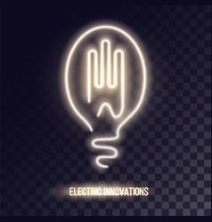 Golden white neon logo design vector