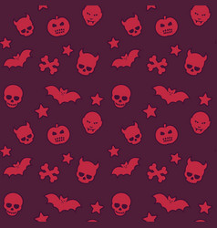 halloween seamless pattern with skulls bats vector image