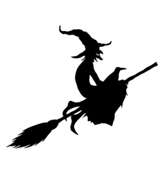 halloween witch silhouette vector image