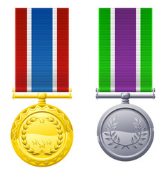 Hanging medals and ribbons vector