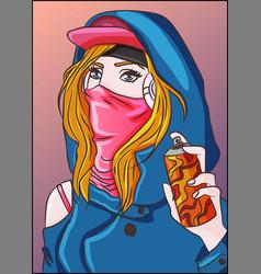 Hip hop rap gangsta street girl vector