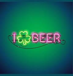 i like beer neon sign vector image