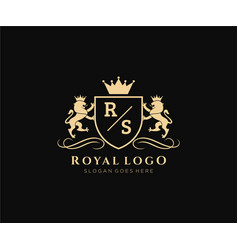 Initial rs letter lion royal luxury heraldiccrest vector
