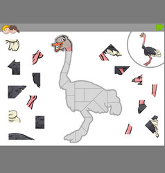 Jigsaw puzzle game with ostrich bird animal vector