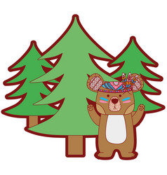 line color ethnic bear animal with pine trees vector image