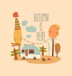 little trailer standing in autumnal forest hello vector image