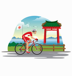man cycling in japan with japanese gate as vector image