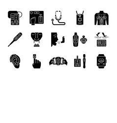 Medical devices glyph icons set vector