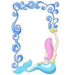 Mermaid with water frame mermaid vector