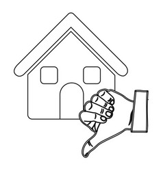 Monochrome contour with house and hand thumb down vector