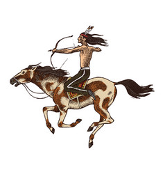 National american indian riding horse with spear vector