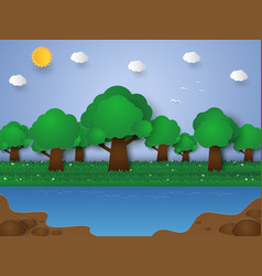 Nature landscape forest and lake paper art style vector