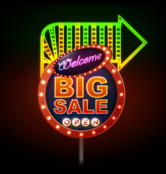 Neon sign big sale open vintage electric sign vector