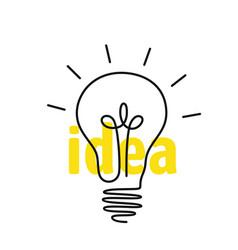 outline light bulb with idea inscription vector image