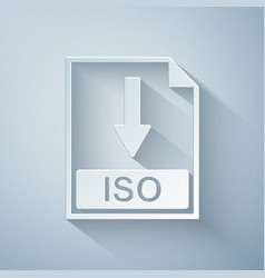 Paper cut iso file document icon download iso vector