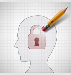 Pencil erases the lock vector