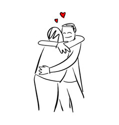 People hug each other with red heart shape vector