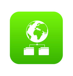 planet and two folders icon digital green vector image