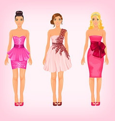 Pretty females in different pink cocktail and prom vector