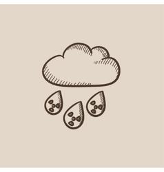 Radioactive cloud and rain sketch icon vector