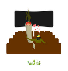 Rasta life rastaman and joint or spliff in cinema vector