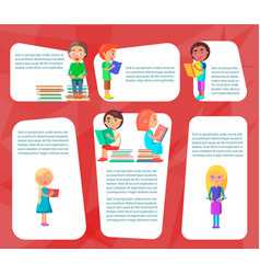 Reading children sitting and standing with books vector