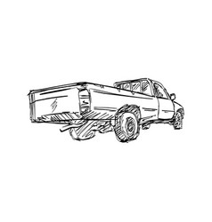 rear view of pick-up truck sketch vector image