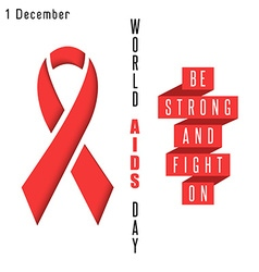 Red ribbon symbol aids world day poster syndrome vector image