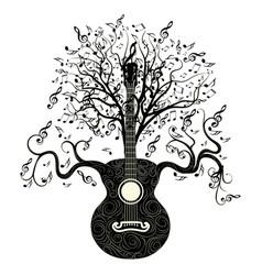 Retro guitar tree vector