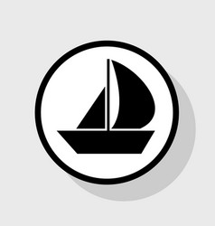 sail boat sign flat black icon in white vector image