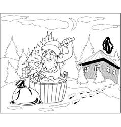 Santa Claus takes a bath vector