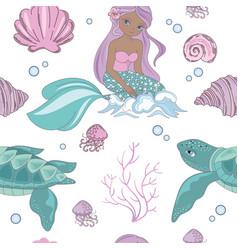sea wave mermaid princess seamless pattern vector image