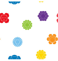 Seamless pattern with signs and names of chakras vector