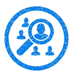 Search People Rounded Icon Rubber Stamp vector