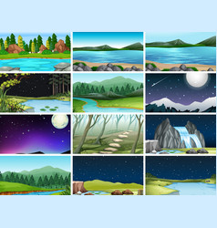 Set different nature backgrounds vector