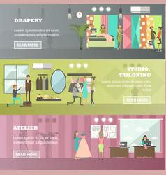 Set fashion atelier horizontal banners vector