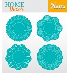 Set of 4 decorative plates for interior design vector image