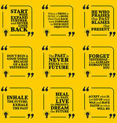 Set of motivational quotes about past goals vector image