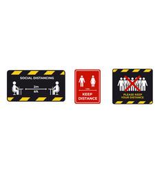 set warning signs for social distancing vector image
