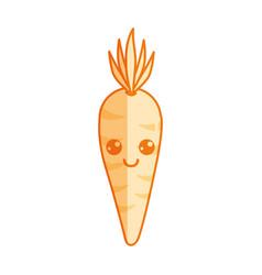 silhouette kawaii cute happy carrot vegetable vector image