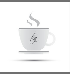 Simple white cup of tea with inscription vector