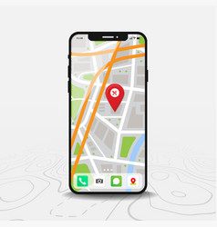 Smartphone with map and red pinpoint on screen vector