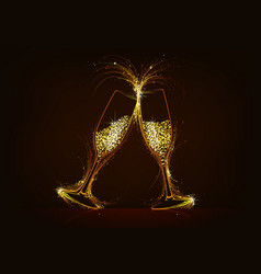 Sparkling champagne glasses with glitter drink vector