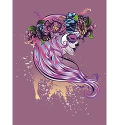 Sugar Skull Girl in Flower Crown5 vector
