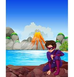 Superhero at the lake vector image