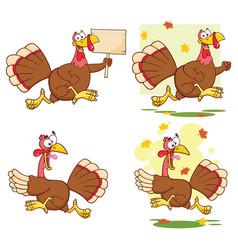 Turkey bird cartoon character collection - 2 vector