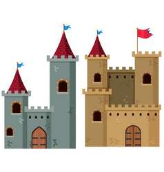 Two castle towers with flags vector