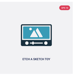 Two color etch a sketch toy icon from toys vector