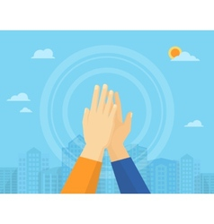 Two hands giving a high five vector image