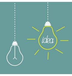 Two hanging light bulbs Idea concept vector
